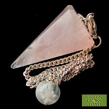 Rose Quartz Point Dowsing Pendulum Crystal Lowers Stress and Soothes