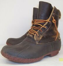 Bean Boots L.L. Bean Wo's 7  Brown Leather Rubber Lace-Up Rain Duck Ankle Boots
