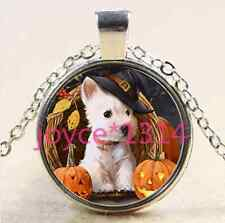 Vintage Halloween Dog Cabochon Tibetan silver Glass Chain Pendant Necklace #2008