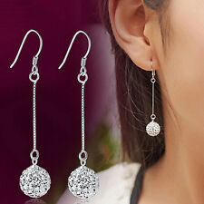 Long Earrings  Silver Hook Crystal Round Ball Drop Dangle Earrings Charm