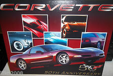CHEVROLET CORVETTE 50TH ANNIVERSARY METAL WALL SIGN 40X30cm, USA/GARAGE/SHED