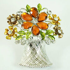 d906677 Charm Champagne Flower Basket Silver Plated Gemstone Brooch Pins Costume