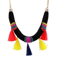 Ethnic Women Necklace Chunky Tassel Rope Chain Seed Bead Colorful Choker Collar