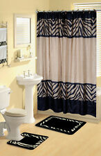 Modern Zebra Safari Animal Print 17 Pc Bath Rug Shower Curtains Hooks Towel Set