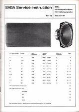 Service Manual-Anleitung für Saba HiFi-Lautsprecherboxen, Jahr 1969