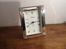 Harrods Sterling Silver Picture Frame style Desk Clock, hallmark Sheffield 1994