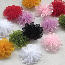 40/200pcs Upick Organza Ribbon flowers Wedding Decor Appliques Sew Craft