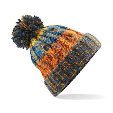 Corkscrew Bobble Beanie Hat Womens Mens Thick Winter Knitted Pom Pom