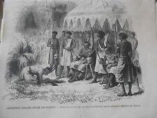 Gravure 1874 - Les Ashantis réception par un chef de tribu