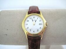 PULSAR  Women's Classic White Face GoldTone Leather Strap Watch By Sieko