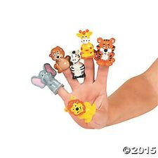 12 Zoo Safari Animal Finger Puppets Kids Birthday Party Favors Toys Gifts Treats