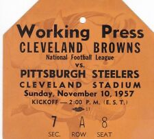 1957 Browns v Steelers Press Pass Ticket Jim Brown Rookie Year 11/10/57 24659