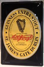 Guinness Extra Stout Label Embossed 3D Metal Vintage Pub Bar Irish Licensed Sign