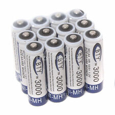 12 Pcs BTY 3000MAH AA Size Ni-MH Rechargeable Durable Batteries Home Battery