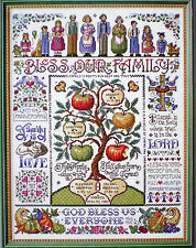 """Sandy Orton """"Bless Our Family"""" Counted Cross Stitch Pattern To Personalize"""