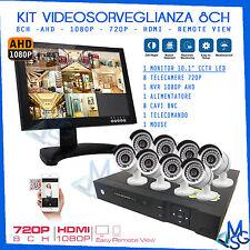 """KIT VIDEOSORVEGLIANZA 8 TELECAMERE HD 1080P MONITOR 10"""" DVR 8 CANALI E CAVI MSG"""
