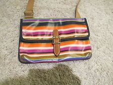 Fossil Key-Per Mini Crossbody Purse Multi Colored Stripe