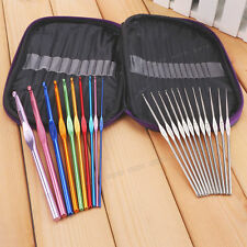 De Aluminio Ganchos de ganchillo Agujas Tejer Knitting Craft 22 Aguja Set Con Funda