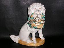Antique German Porcelain Poodle Dog with Basket of Pigs.