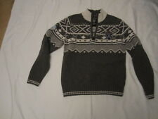 Preowned Men's Size Small Warren & Parker Lamb's Wool 1/3 Zip Front Ski Sweater
