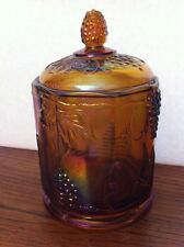 "Indiana Glass Carnival ""Harvest"" Marigold Iridescent Purple Lidded CANISTER 7""t"