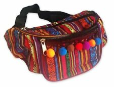 MULTI AZTEC TRIBAL POM POM CUSTOMISED BUM BAG SHOPPING TRAVEL HOLIDAY FANNY PACK
