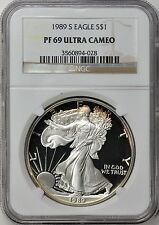 1989 S $1 Silver Eagle PCGS PF69 ( Beautifully Toned ) ASE Proof Coin Bullion