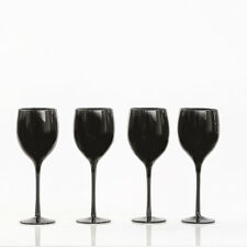 Set of 4 BLACK WINE GLASSES Drinkware