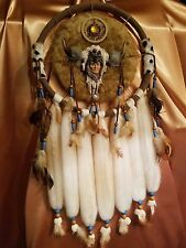Hand Made Dream Catcher / Made Of Sheep's Wool Beads & Feathers