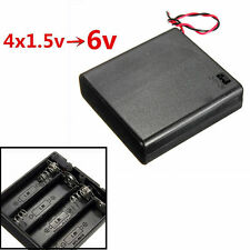4x AA 6V Battery Holder Connector Storage Case Box ON/OFF Switch With Lead Wire