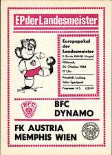 EC I 85/86 BFC Dynamo - FK Austria Memphis Wien, 18.09.1985, Preis rechts