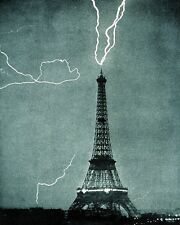 New 11x14 Photo: Lightning Caught Striking the Eiffel Tower in Paris, France