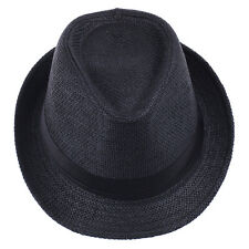Men Women Boys Girls Kids Children Fedora Hats Trilby Caps Straw Two Sizes
