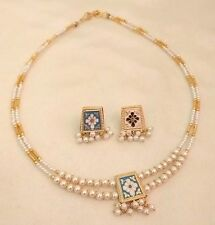 Reversible Gold Sky Blue Black White Pearl Jewelry Indian Bridal Necklace Set