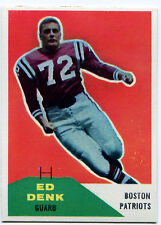 1960 Fleer ED DENK #125 RC Boston Patriots Rare Error KENNETH FORD 50 Wrong Back
