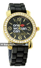 ladies One Woman Can message watch gold CZ black dial black silicone strap