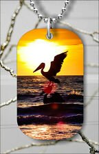 "FLYING PELICAN OVER SEA AT SUNSET DOG TAG NECKLACE 30"" FREE CHAIN -ofb6Z"
