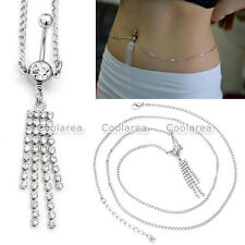 1x Steel 14G Crystal Tassel Belly Navel Button Ring Waist Body Chain Piercing
