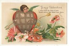 to My Valentine, Cupid with Heart Shield and Arrows Vintage Postcard