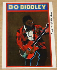PETER BLAKE BO DIDDLEY SIGNED POP ART POSTCARD BEATLES UACC REGISTERED DEALERS