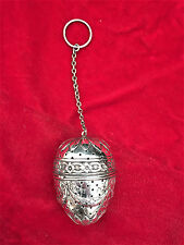 Rare Large Antique Augsburg Germany Sterling Silver Tea Ball Infuser Strainer