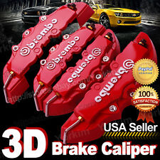 3D Red Brembo Style Universal Disc Brake Caliper Cover 4pcs Front & Rear UPT16