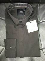 BNWT Mens Ex-Asos Black Slimfit Long Sleeve Button Cuff Shirt - Size XXS-XXXL