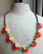 VINTAGE NEON ORANGE CORAL THERMOSET LUCITE CRESCENT MOON GOLD-TONE NECKLACE