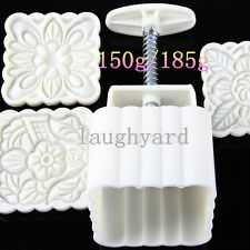 New version concave Square Moon Cake Mold 150g/185g 1 Barrel 3 Stamps