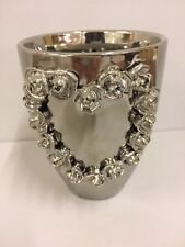*Slight Seconds* Silver Vase with Heart Detail Mothers Day Wedding Birthday Home