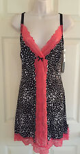 DELTA BURKE INTIMATES Babydoll Chemise Gown SEXY LACE Black White Multi 1X