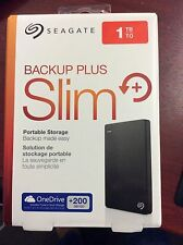 Seagate - Backup Plus Slim 1TB External USB 3.0/2.0 Portable Hard Drive Black