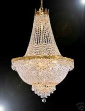 "9 LIGHT 24""X30"" BEAUTIFUL GOLD EMPIRE STYLE CRYSTAL CHANDELIER"
