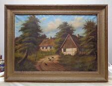 T.H. Borg Estate Found Antique Farm Homes Oil Painting w. Antique Wooden Frame